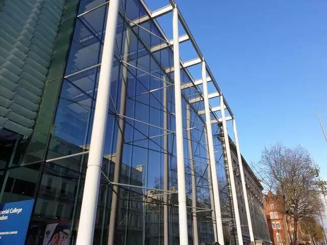Imperial University glass frontage reflections