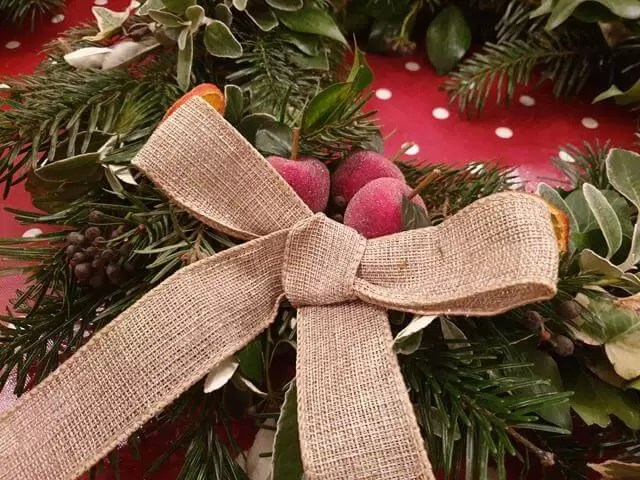 burlap wired ribbon on wreath