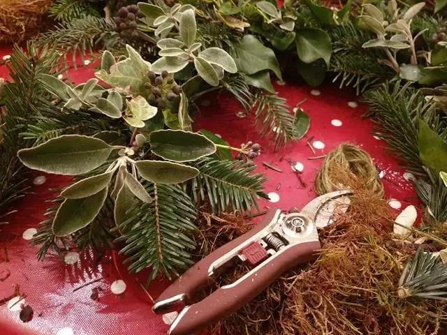close up of wreath base