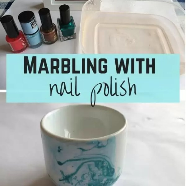 Nail polish marbling crafts