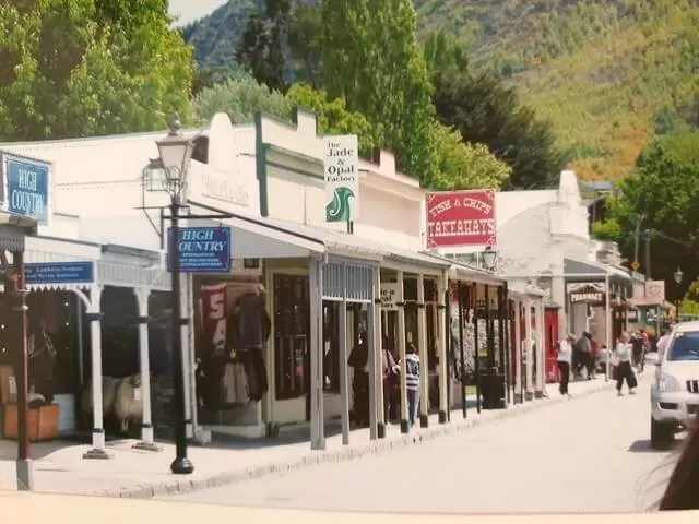 Arrowtown shopping parade with old fashioned buildings