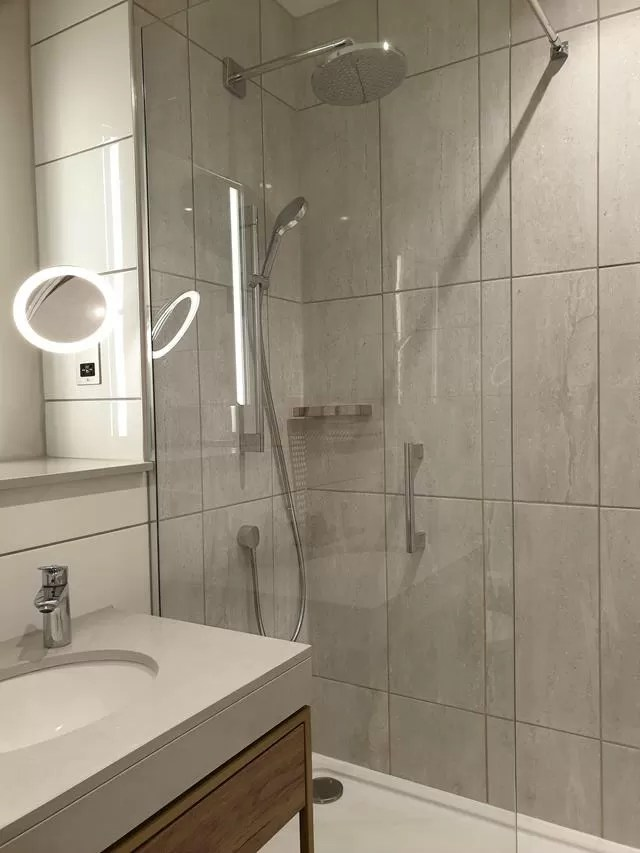 large shower at forest pines