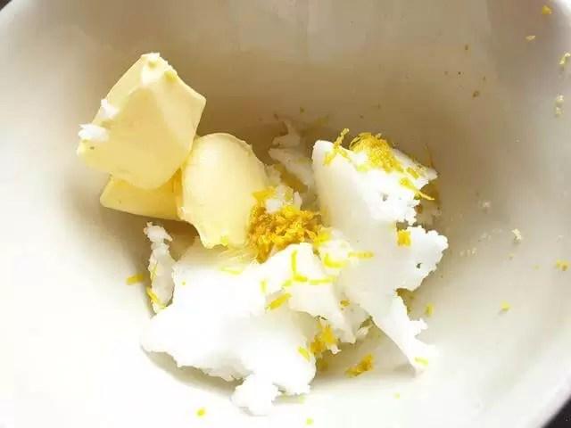 mixing lemon coconut fat bomb mix