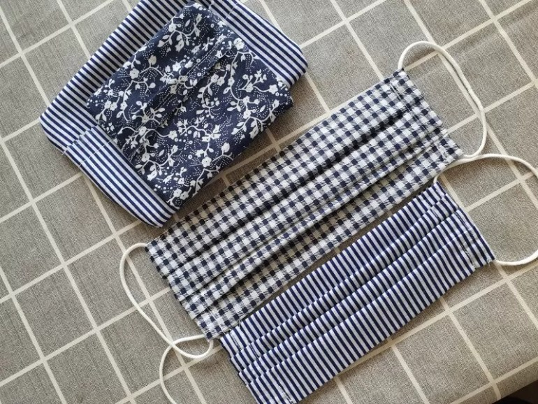 homemade pleated face masks and pouches