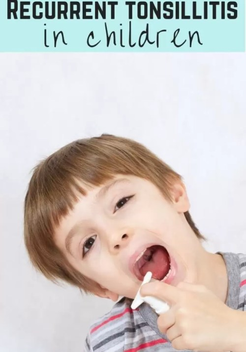 recurrent tonsillitis in children - boy with sore throat spray
