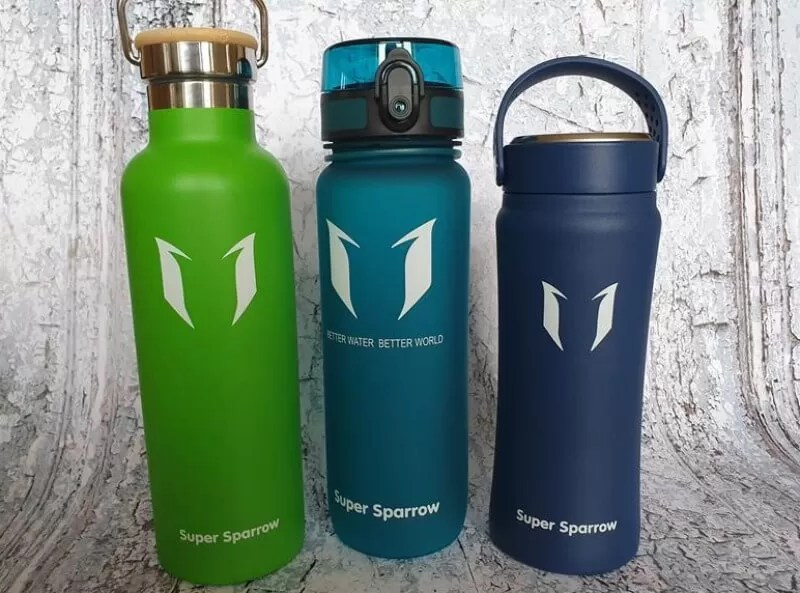 3 super sparrow water bottles lined up