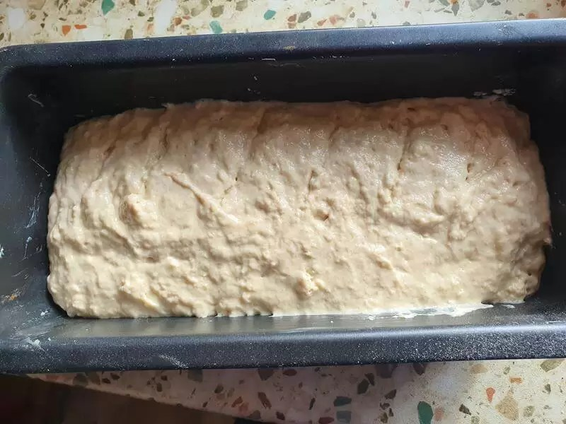 beer bread dough ready in the tin to bake