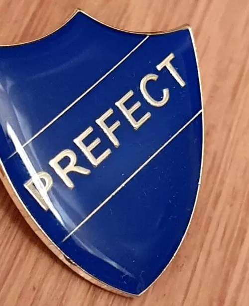 blue prefect badge - year 5
