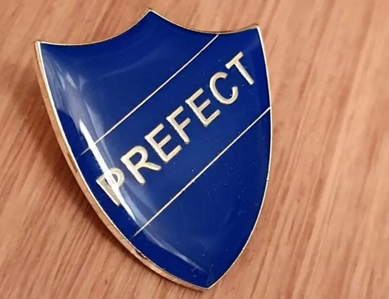 blue prefect badge