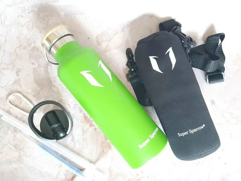 green standard mouth super sparrow stainless steel bottle and accessories