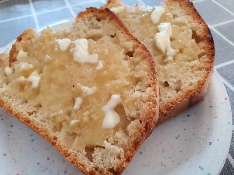 toasted beer bread slices with butter