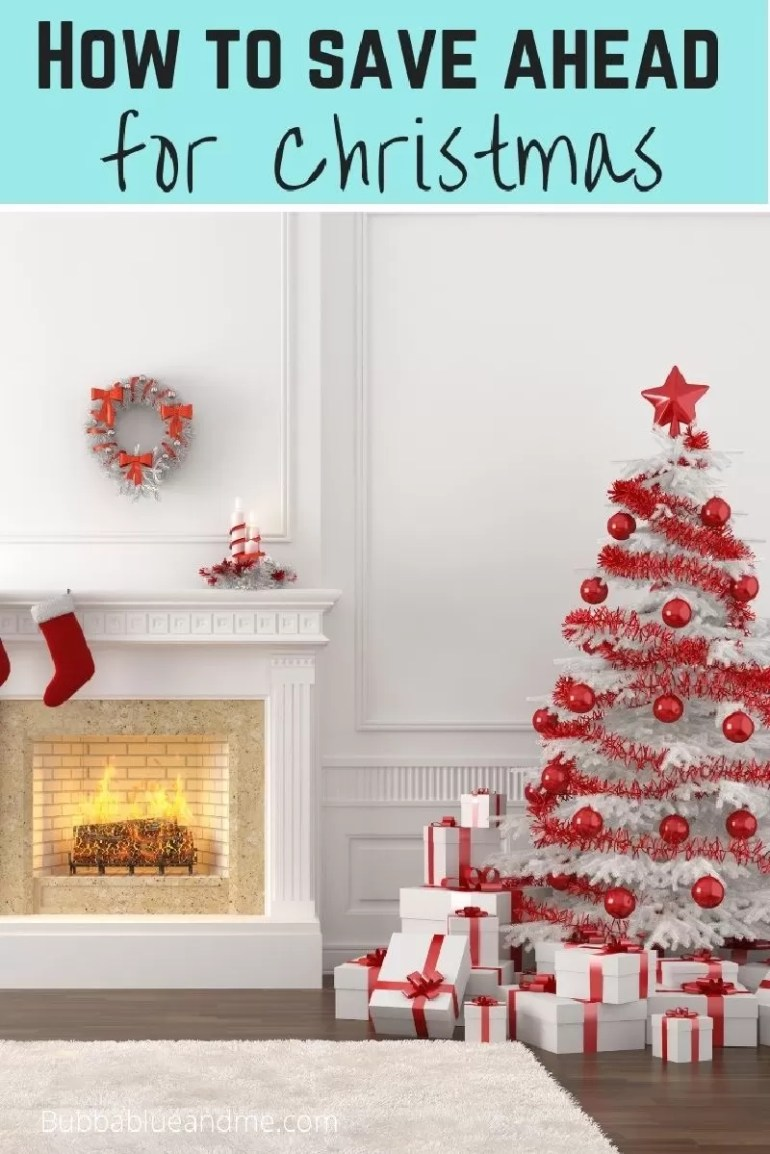 How to save ahead for Christmas - white christmas tree decorated in red, in a white room with fireplace