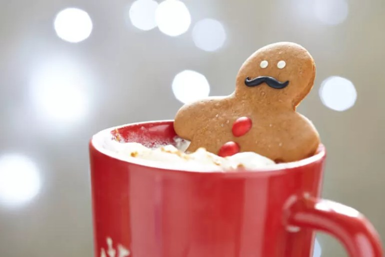 gingerbread man in hot chocolate mug