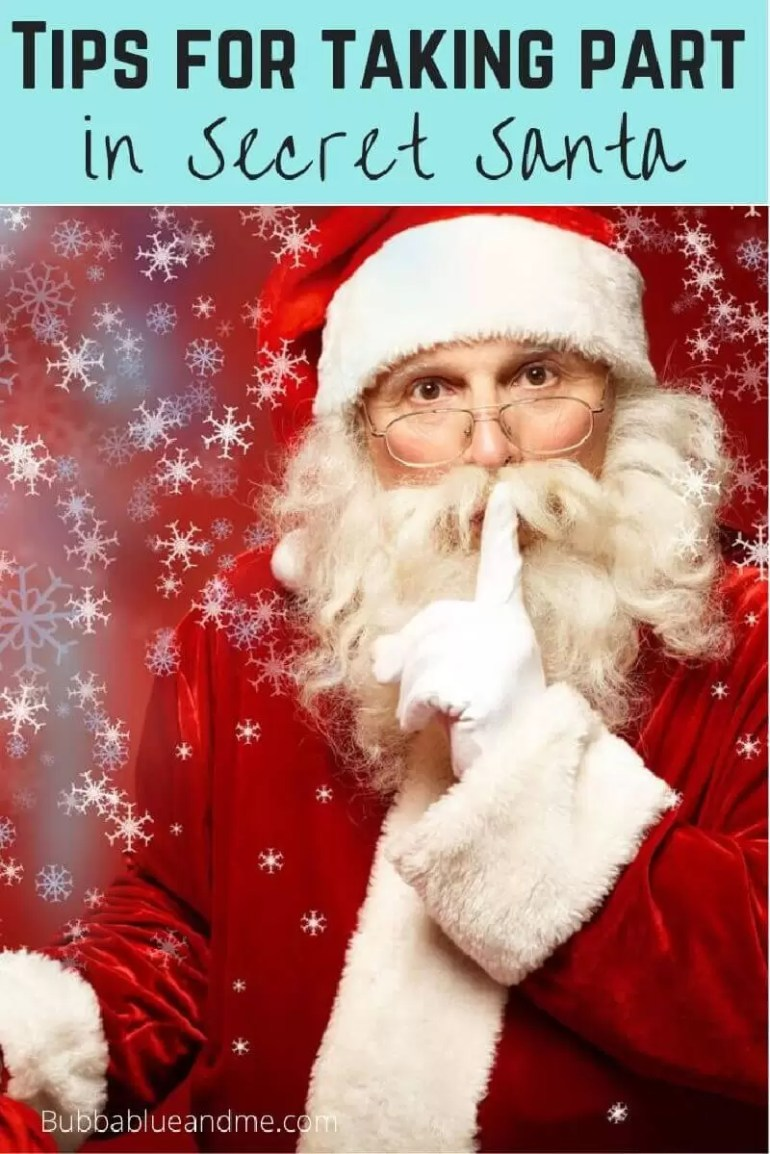 13 tips for secret santa participation, picture of a Santa with his finger to his mouth suggesting 'keep a secret'