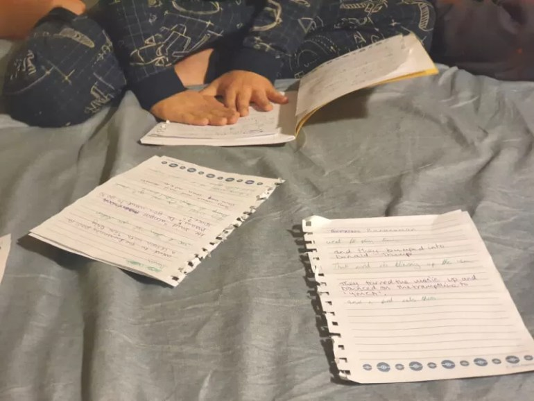 writing fun sories at bedtime