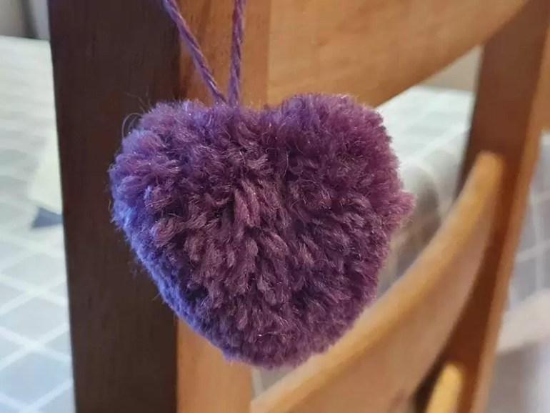 purple pom pom heart