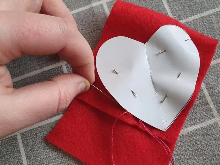 sewing around paper heart template