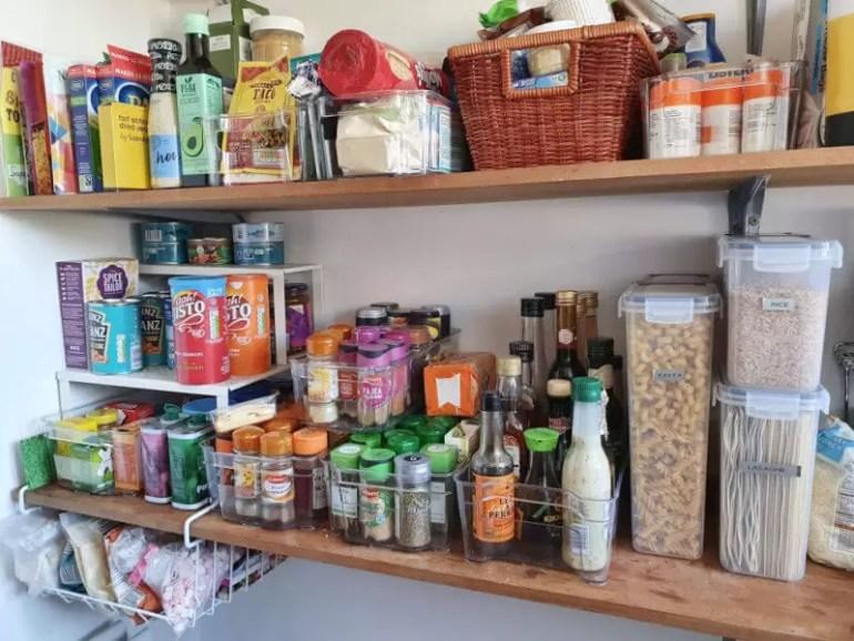 decluttered and organised larder shelves