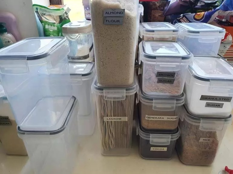 puting food ingredients into new containers
