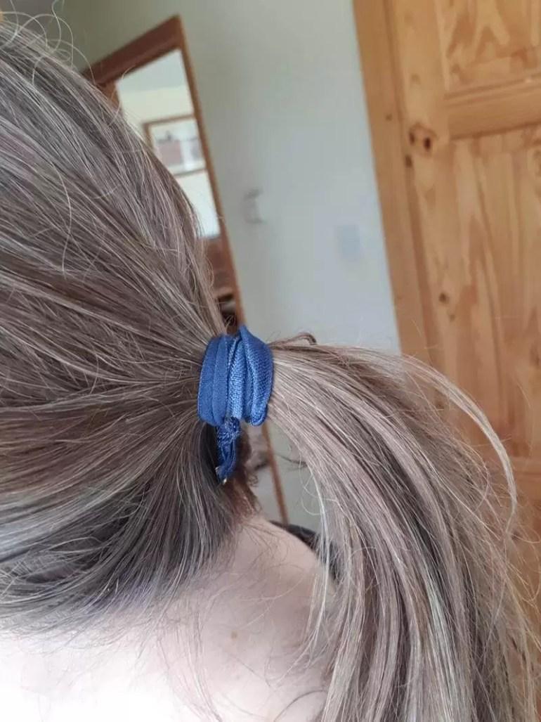 homemade fold over elastic hair band on ponytail