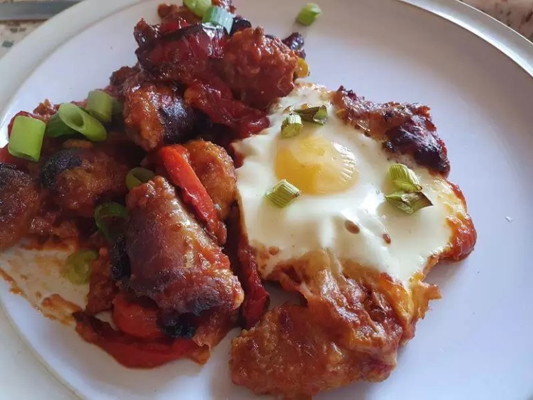 sausage tomato and pepper bake