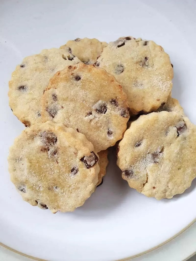 plate of lemon and choc chip cookies