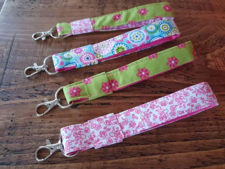 4 handsewn wristlet keyfobs