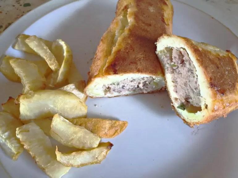 keto sausage roll and celeriac fries