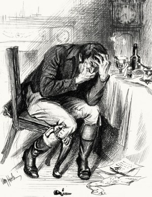 sketch of a man with a toothache
