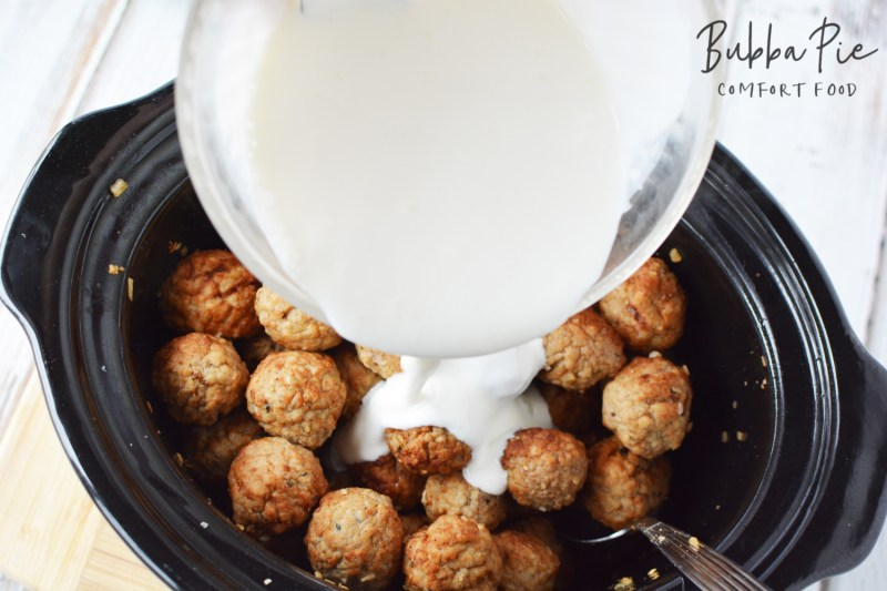 Slow Cooker Swedish Meatballs recipe adds the creamy sauce at the end