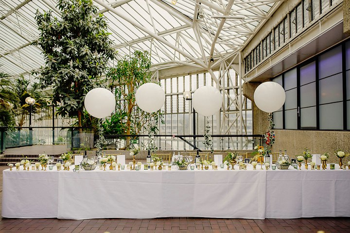 29-Greenery-and-Geometric-London-Barbican-Centre-Wedding-by-Steven-Rooney