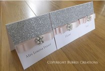 Silver Glitter Wedding Place Cards in Blush Pink