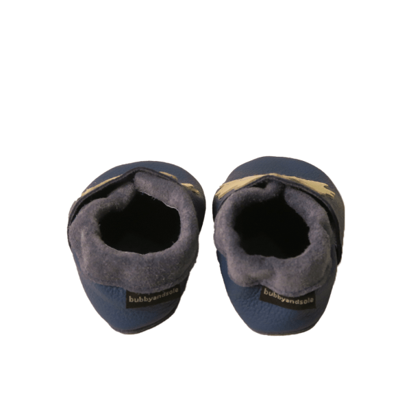blue lions baby leather shoes back