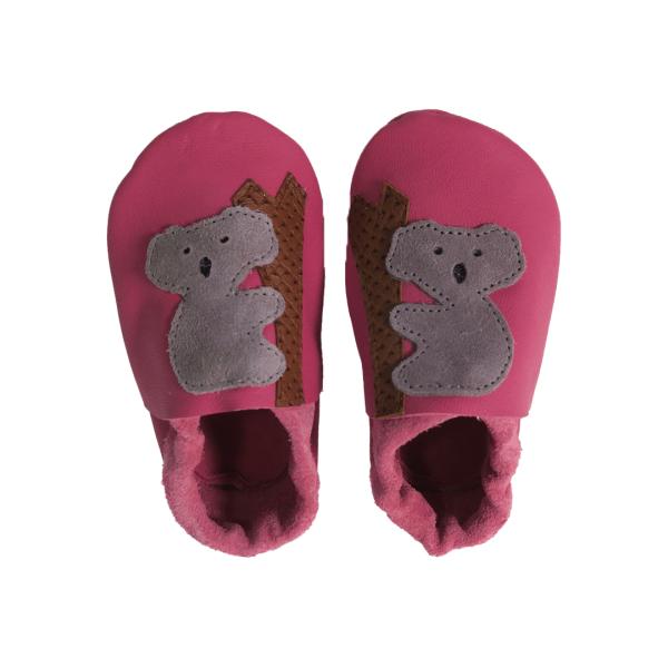 fuchsia koala baby leather shoes