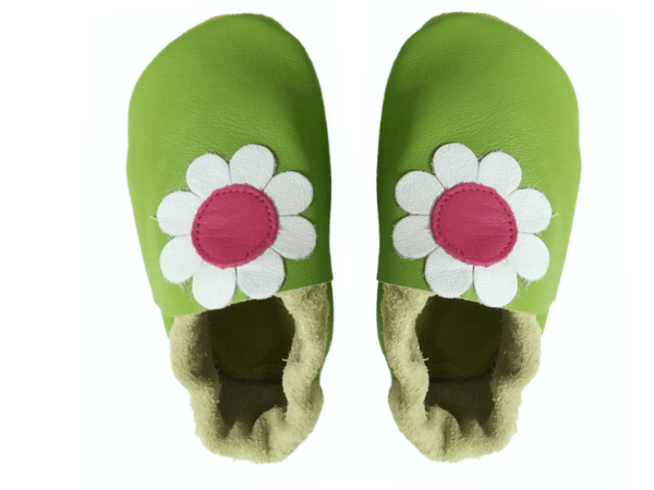 green daisy baby leather shoes