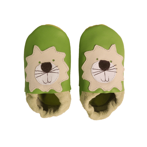 green lion baby leather shoes