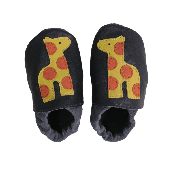 Navy giraffe baby leather shoes