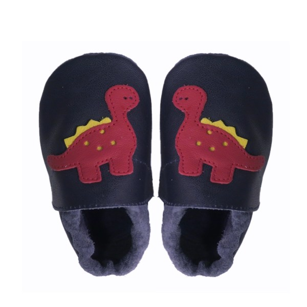 Navy dino baby leather shoes