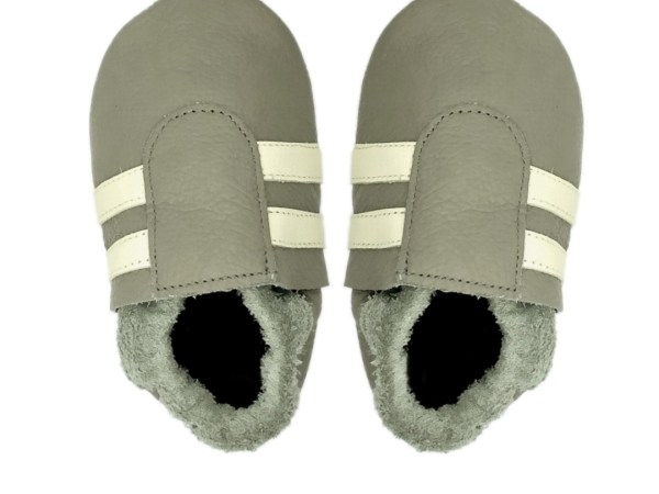 Taupe cream sport baby leather shoes