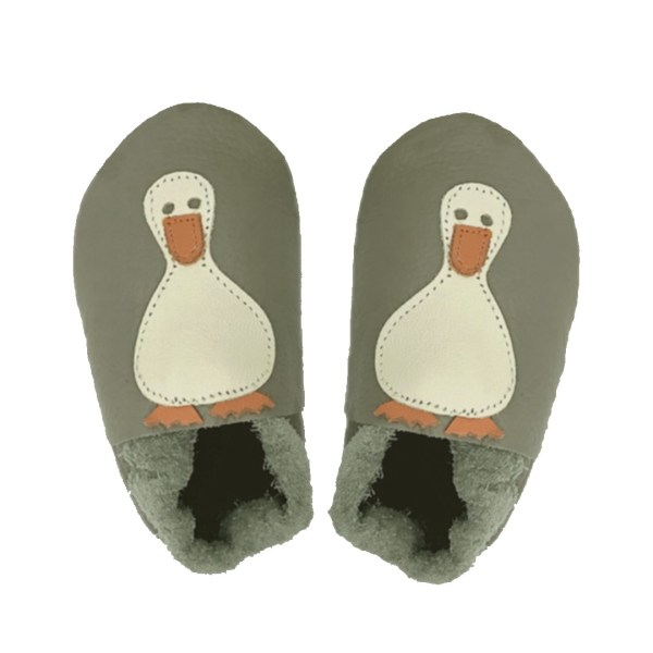 Taupe ducks baby leather shoes