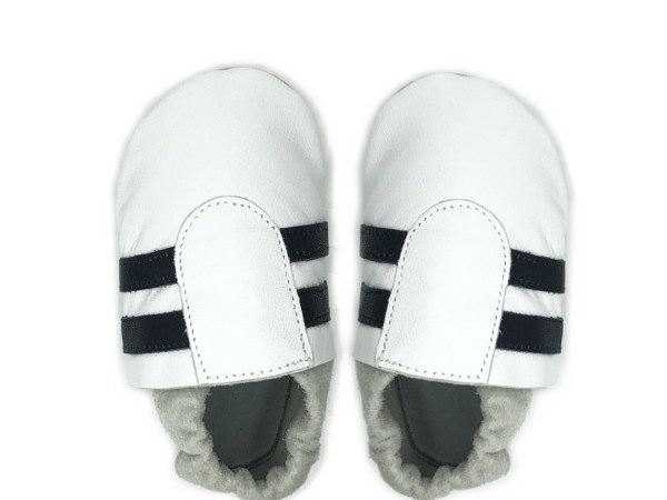 White navy sport baby leather shoes