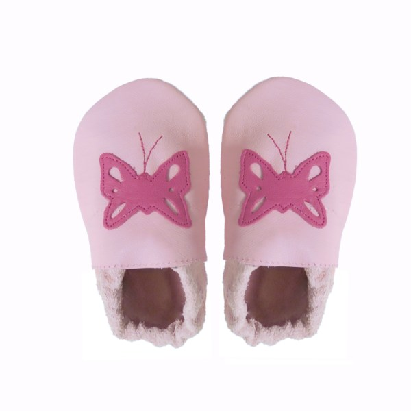 Pink fuchsia butterfly baby leather shoes