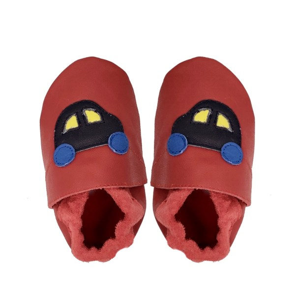Red Navy hearts baby leather shoe back