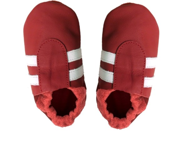 red white sport baby leather shoes