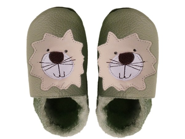 taupe lion baby leather shoes