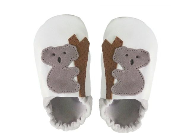 White koalas baby leather shoes