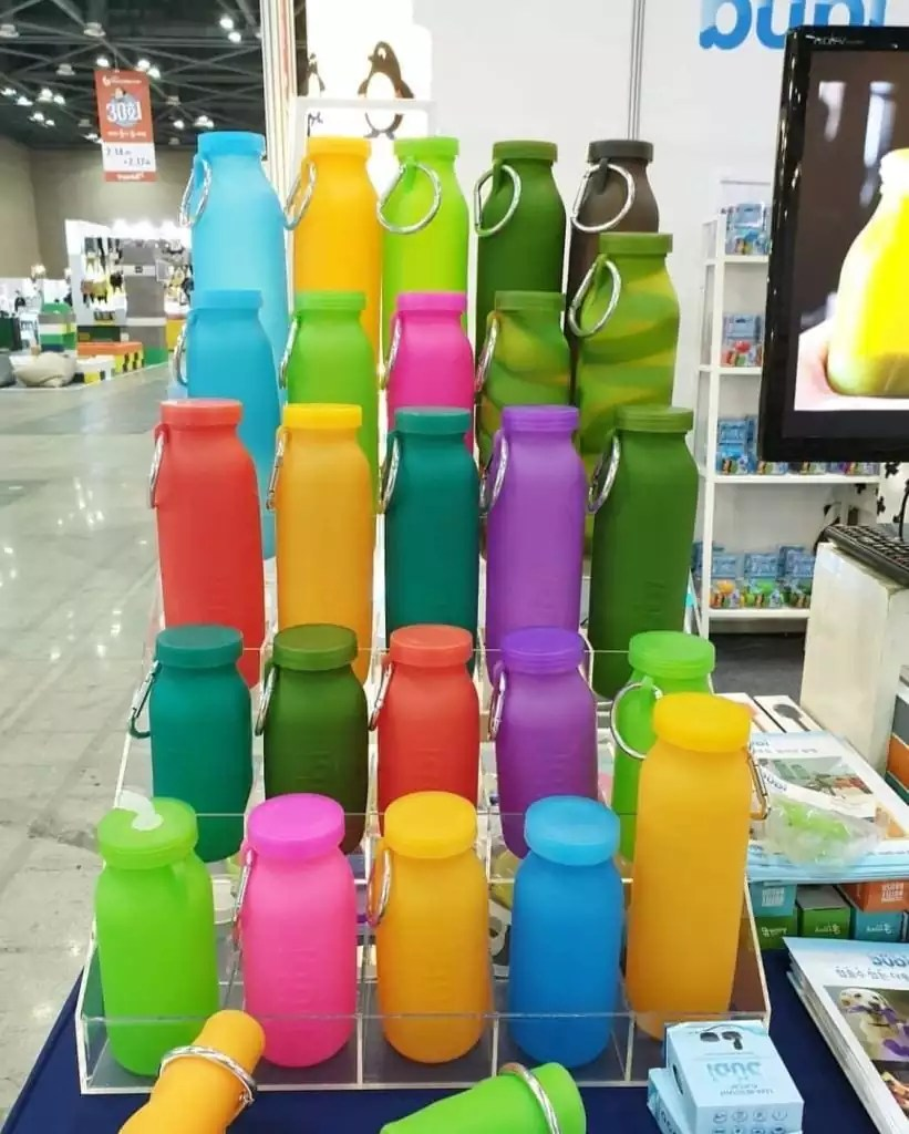 qvc, qvc water,qvc water bottle, susan butterworts, water bottle, bubi, silicone, colorful bottles, sport accessories