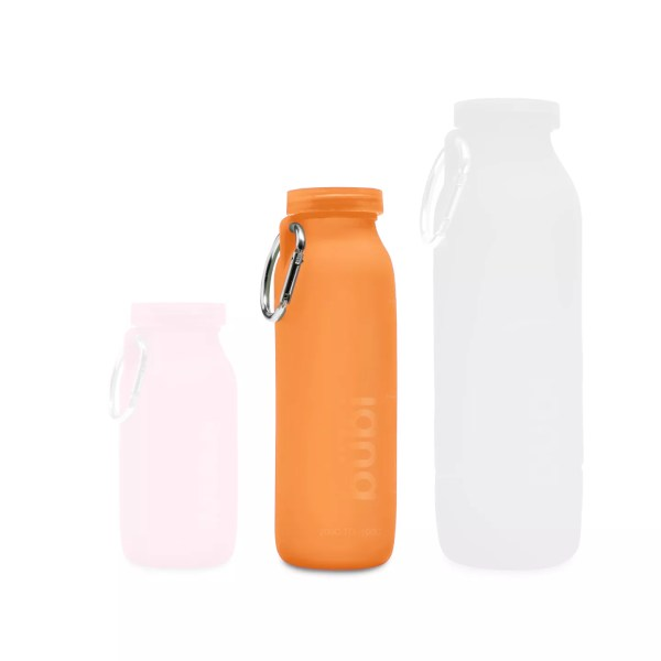 Silicone-water-bottle-orange-bottle-hiking
