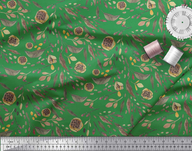 Soimoi Green Cotton Poplin Fabric Artistic Leaves Printed