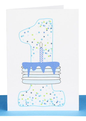 1st birthday card blue cake confetti